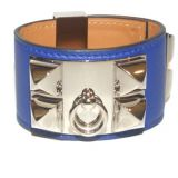 Hermes Electric Blue Swift Leather Collier De Chien Cuff Bracelet