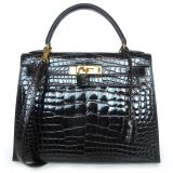 Hermes Espresso Alligator 28cm Kelly Bag With Strap