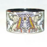 Hermes Extra Wide PM Bangle Bracelet Painted Enamel Elephants