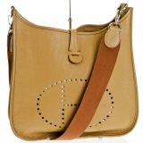 Hermes Gold Togo Leather Evelyne Messenger Handbag