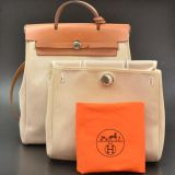 Hermes Herbag Beige Canvas Leather Backpack Hand Bag H347