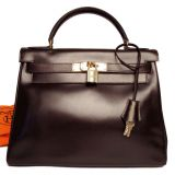 Hermes Kelly Bag 28cm Brown Box Calf Leather Gold Hardware
