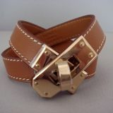 Hermes Kelly Double Tour Natural Barenia Bracelet Gold Hardware