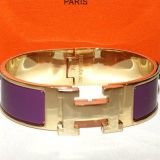 Hermes Mib Purple and Goldtone Clic Clak H Bracelet