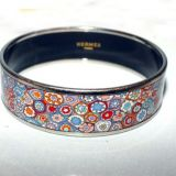 Hermes Mint In Box Multicolored Millefiori Painted Enamel Bracel