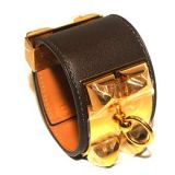 Hermes Nib Black Leather Ghw Collier De Chien Cuff Bracelet