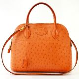 Hermes Orange Ostrich Bolide Handbag Bag Tote 31cm With Strap Ghw