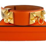 Hermes Orange Swift Cdc Collier De Chien Belt Gold Hardware Rare