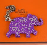 Hermes Purple Lucky Elephant Key Ring Bag Charm Rare