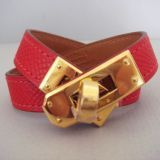 Hermes Rouge Casaque Kelly Double Tour Bracelet Gold Hw New Auth