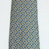 Hermes Silk Tie Blue and Yellow Circular Belt Pattern 7044 Ta