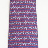Hermes Silk Tie Maroon Blue Silver Horseshoes and Lines 7105 Oa