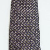 Hermes Silk Tie Navy and Gold Geometric Pattern 7353 Pa
