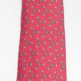 Hermes Silk Tie Red With Silver Horseshoe Pattern 7479 Ia