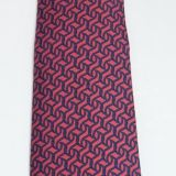 Hermes Silk Tie Red and Navy Swirling Geometric Pattern 7660 Ta