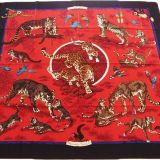 Hermes Tendresse Feline GM Shawl 140 Red Cashmere Shawl New Auth