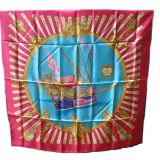 Hermes quotla Marines A Rames quotVintage Silk Scarf