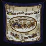 New Authentic Hermes Silk Scarf Hiver En Poste With Box