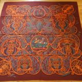 New Hermes La Charmante Aux Animaux Burgundy Cashmere silk Shawl