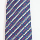 New Hermes Silk Tie Blue Red White Stripes 988 Sa