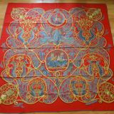 New Hermes quotla Charmante Aux Animaux quotRed Cashmere silk Shawl Sca