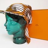 New In Box Hermes Highly Collectible Orange Silk Scarf Hat