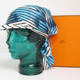 New In Box Hermes Highly Collectible Blue Silk Scarf Hat