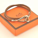 Silver Hermes Leather Long Wrap Bracelet With Box H179